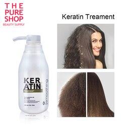 النقي الكيراتين البرازيلي علاج الشعر الفورمالين 5% الكيراتين Cheveux Straighte مجعد الشعر إصلاح التالفة لامعة شامبو للشعر 300 مللي