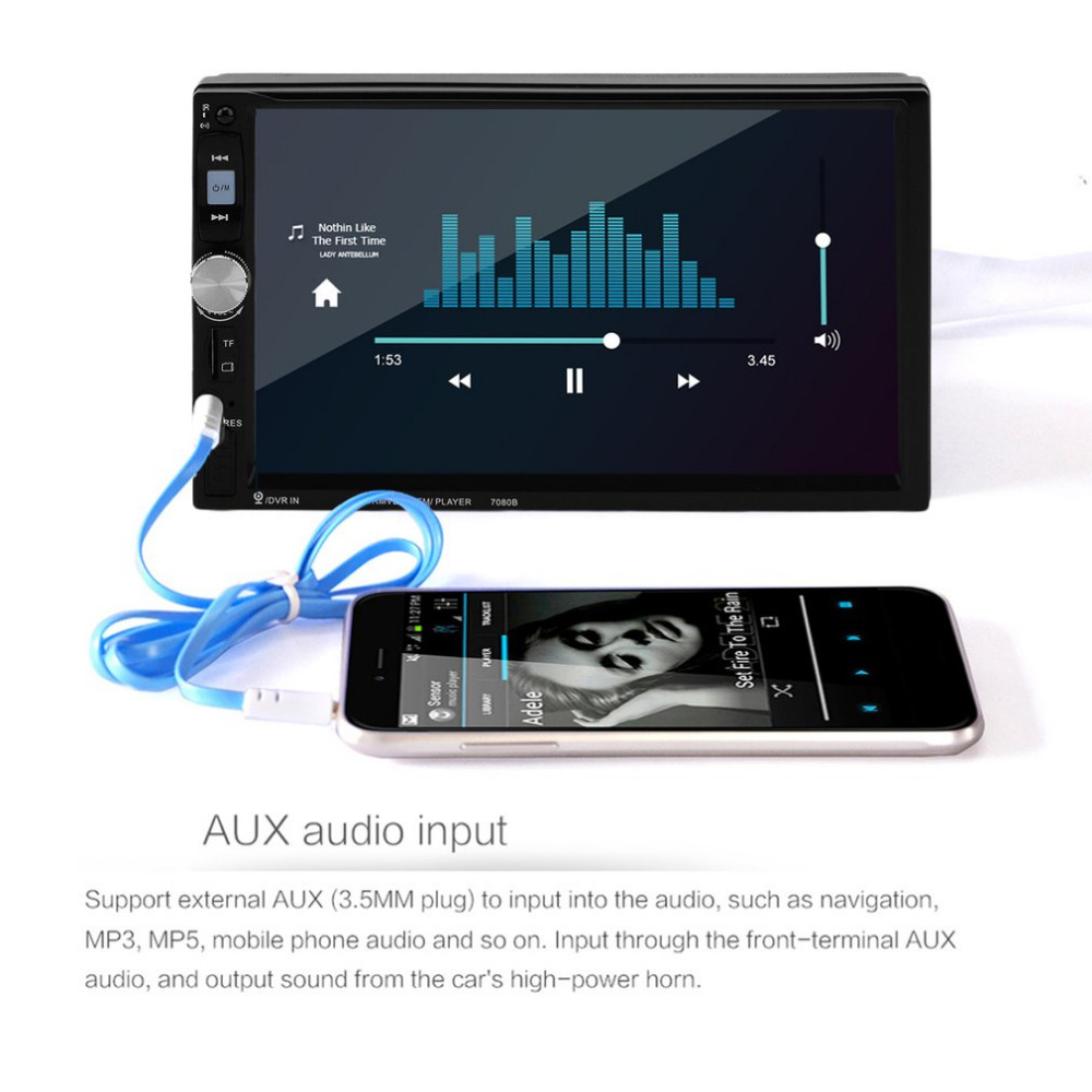 Cimiva 7080B 7 Inch Car Video Player with HD Touch Screen FM Bluetooth Stereo Radio Car MP3 MP4 MP5 Audio USB Auto Electronics touch screen stylus with strap for cell phones pda mp4 mp5 purple