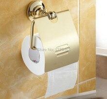Бесплатная Доставка! роскошный Золотой Цвет Полированная Латунь Настенные Ванная Комната Медь Держатель Для Туалетной Бумаги Ролл aba105