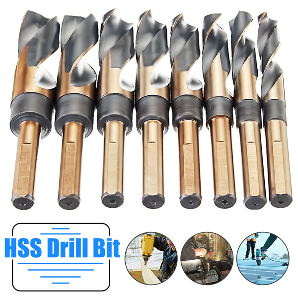 цена на 8Pcs 1/2 inch Round Shank HSS High Speed Twist Drill Bit Set Stainless Steel Coated Drill Bits Woodworking Metal Plastic Tools