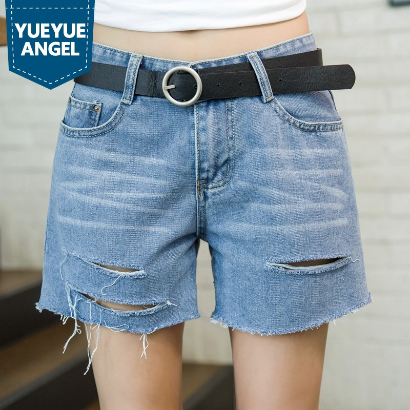 Hot Sale 2019 New Summer Womens Jean Shorts Casual Hole Ripped Wide Leg Shorts Female Plus Size Loose Fit Denim Shorts S 8XL