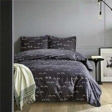 Brief Eye Lashes Grey Duvet Cover Pillowcase Sets Home Textile Girl Teen Boys Bedding Set King Queen Twin Bed Linens Bedclothes