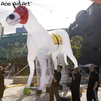 Portable white animal inflatable horse replica,horse model for horse racing and canival rece