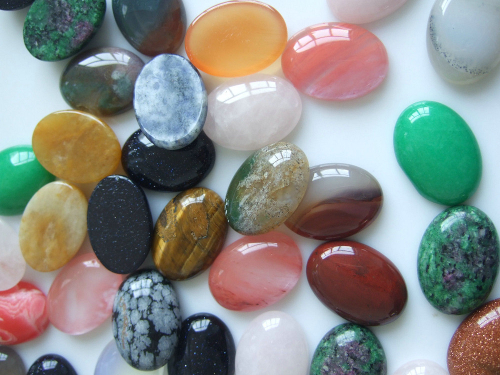 10pcs Assorted Natural Stone Cab Bead 18x25mm Oval Cabochons For Jewelry Making DIY Beads Free Shipping