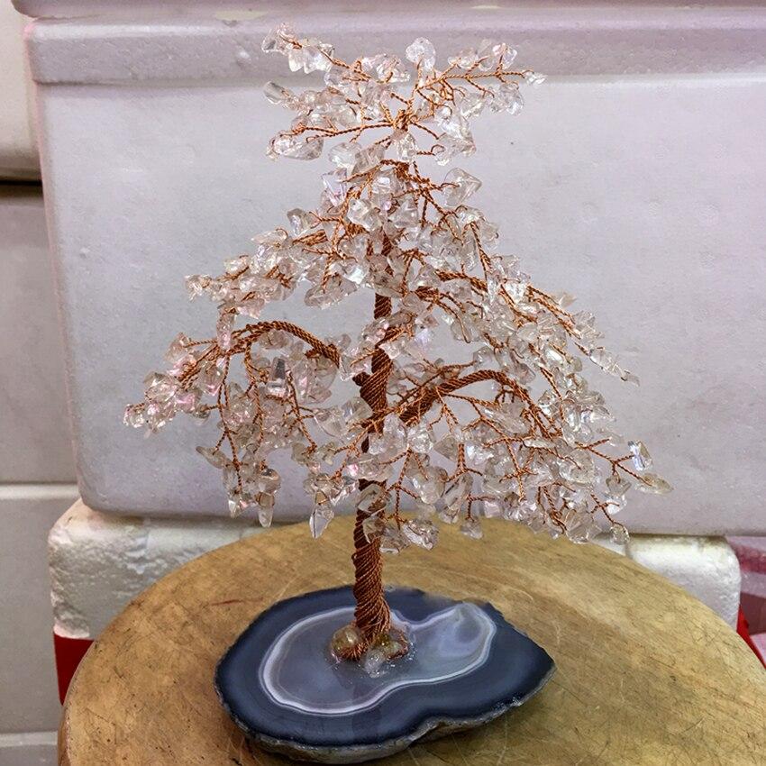 Tamanho grande Cristal de quartzo claro natural gemMoney Árvore Riqueza Feng Shui Home Decor Estatuetas Em Miniatura PartyGift