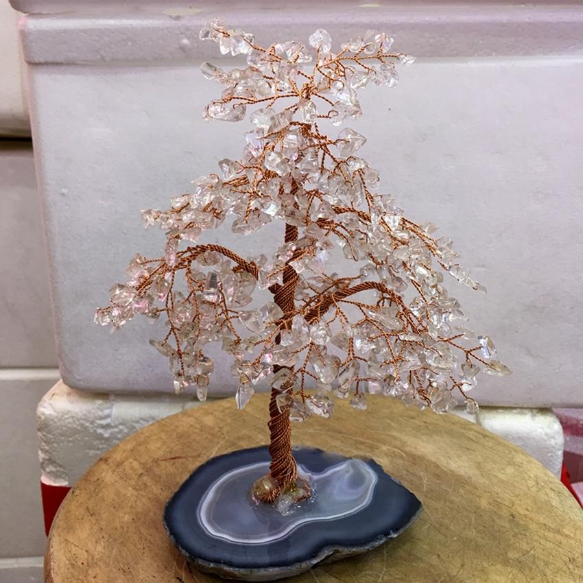 Gran tamaño cristal natural claro cuarzo gemMoney árbol Feng Shui riqueza hogar Decoración figuras miniatura PartyGift