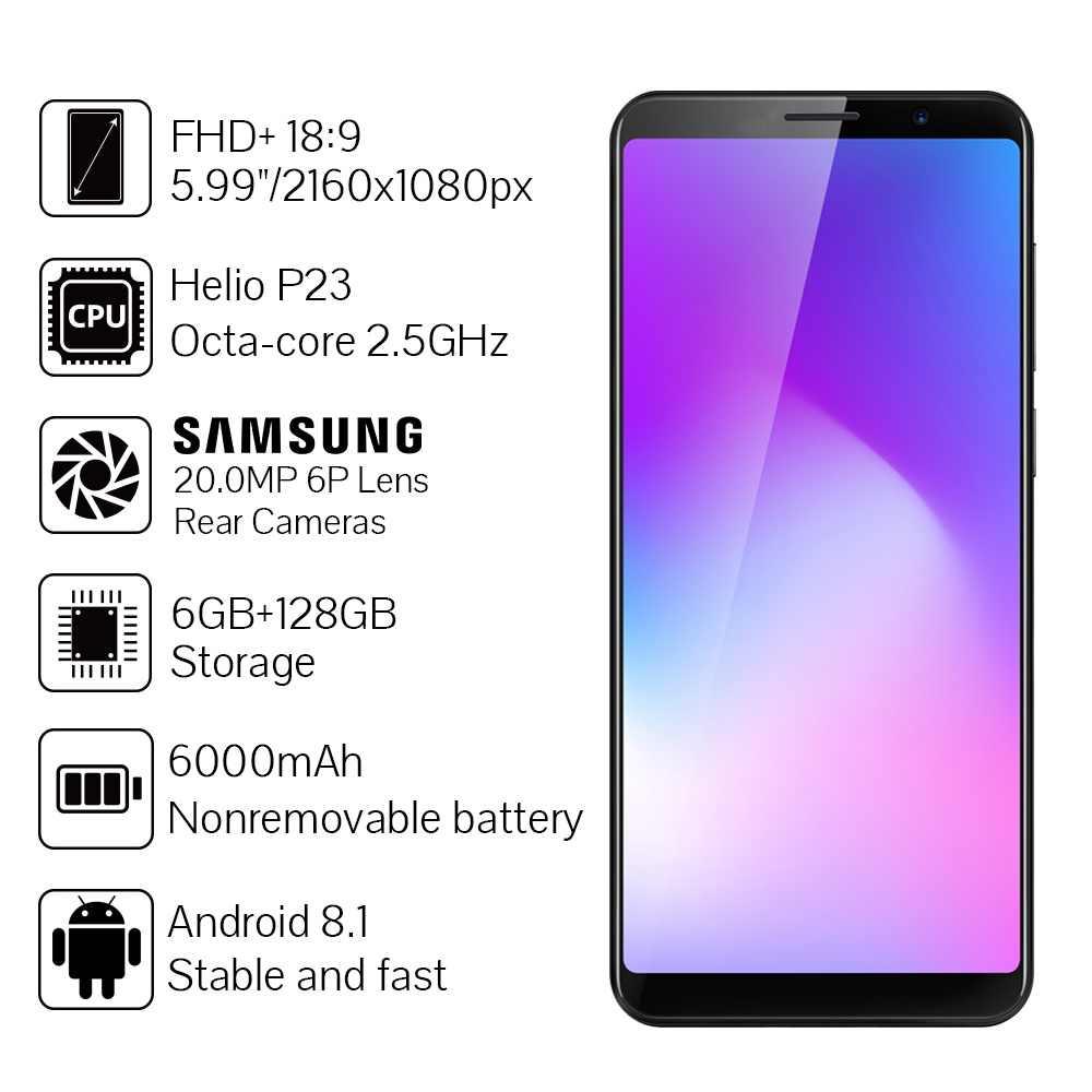 "Cubot Power 6000 мА/ч, Helio P23 Octa Core 6 ГБ Оперативная память 128 Гб Встроенная память 5,99 ""FHD +  Android 8,1 смартфон 16.0MP 6P lens Телефон Type-C 4G"