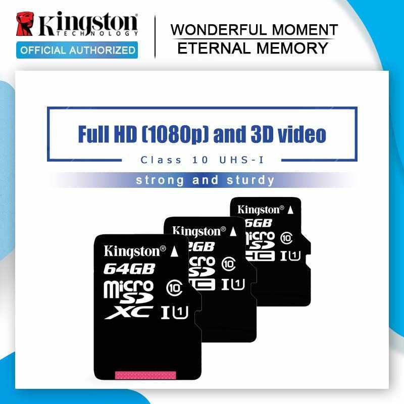 Kingston микро Флэшка карта памяти 32 Гб оперативной памяти, 16 Гб встроенной памяти, Class10 UHS-1 MicroSDHC Mini SD Card 64 Гб 128 ГБ MicroSDXC microsd для смартфонов на платформе Android