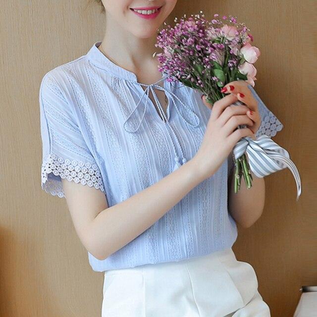 308b2dd45 Primavera Verão 2019 nova Blusa Shirts Women 100% Algodão Tops de Manga  Curta Lace Oco