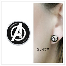 Logam Marvel Avengers Captain America Shield Anting-Anting Perhiasan Iron Man Kaca Stud Anting-Anting Hadiah(China)