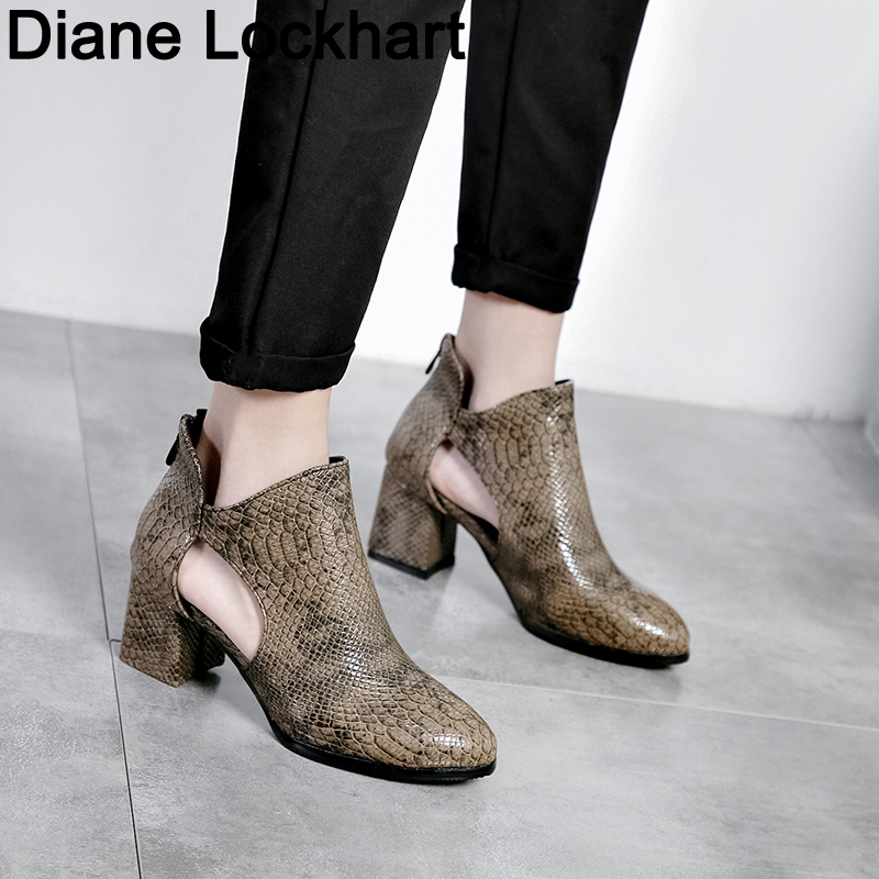 Spring Autumn Women Shoes Retro High <font><b>Heel</b></font> <font><b>Ankle</b></font> <font><b>Boots</b></font> Female <font><b>Block</b></font> Mid <font><b>Heels</b></font> Casual Snake Botas Mujer Booties Feminina Size 43 image