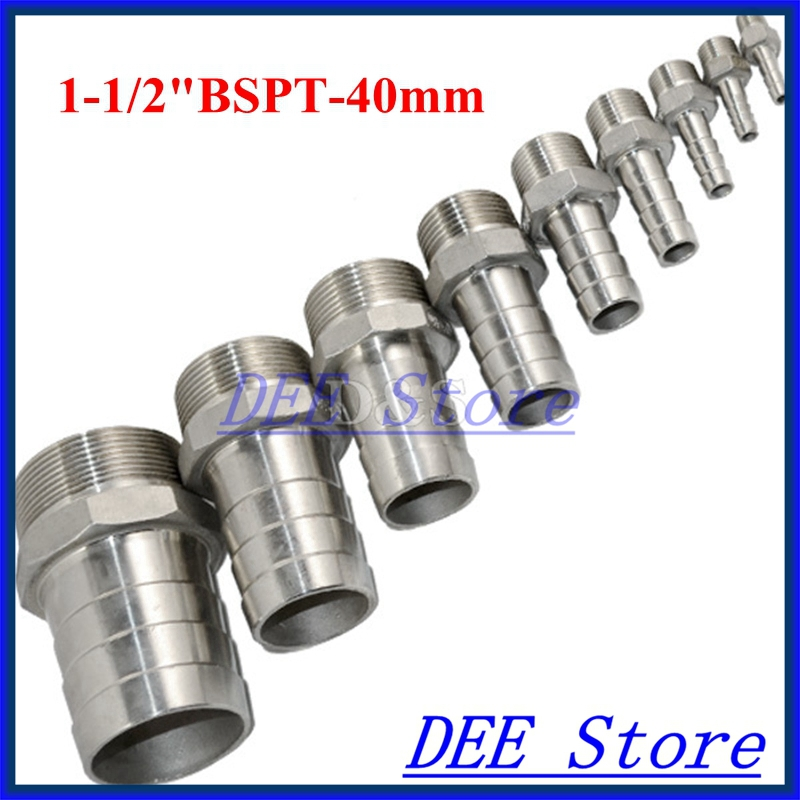 1.5 /1-1/2 BSPT Male Thread Pipe Fittings x 40 MM Barb Hose Tail Connector Joint Pipe Stainless Steel SS304 connector Fittings 1pt male thread x 22mm 25mm 25 4mm 1 od double ferrule tube air compression pipe fitting connector 304 stainless steel bspt