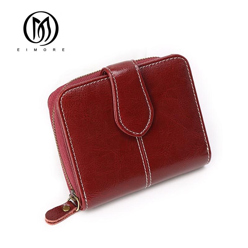 EIMORE Rfid Wallet For Woman Split Leather Female Short Wallet Purse Zipper Coin Purse Mini Walet Fashion Porte Monnaie Femme