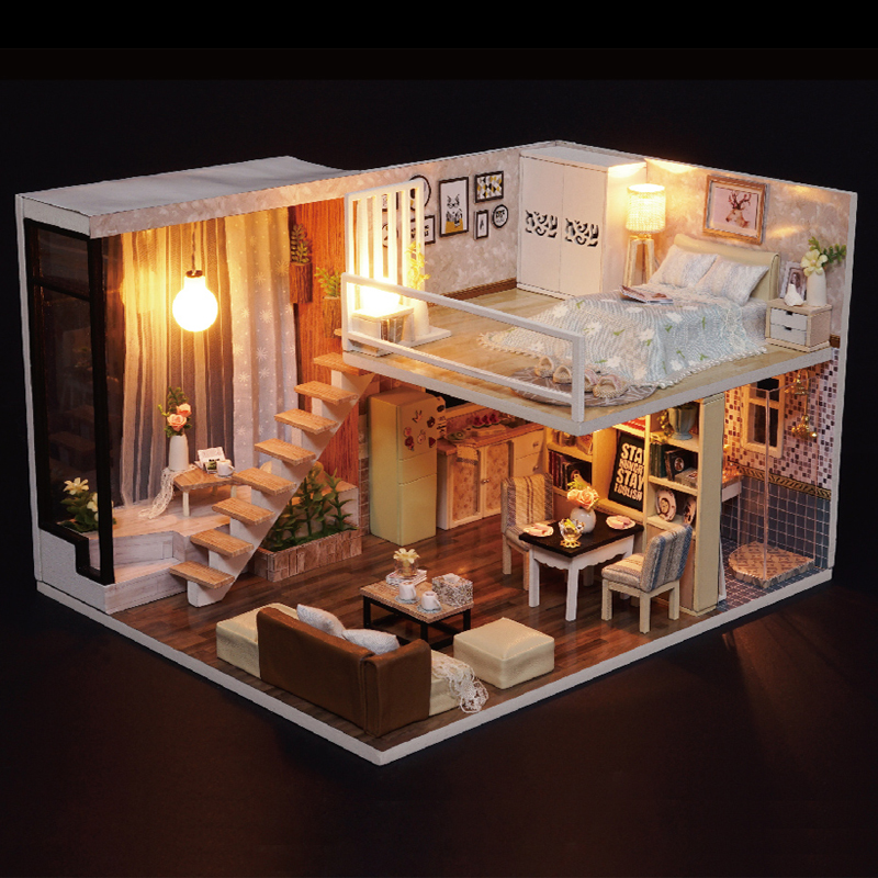 DIY Model Doll House Casa Miniature Dollhouse with Furnitures LED 3D Wooden House Toys For Children Gift Handmade Crafts L020 #E doll house diy miniature dollhouse model wooden with furnitures casa de boneca toys adventure tour