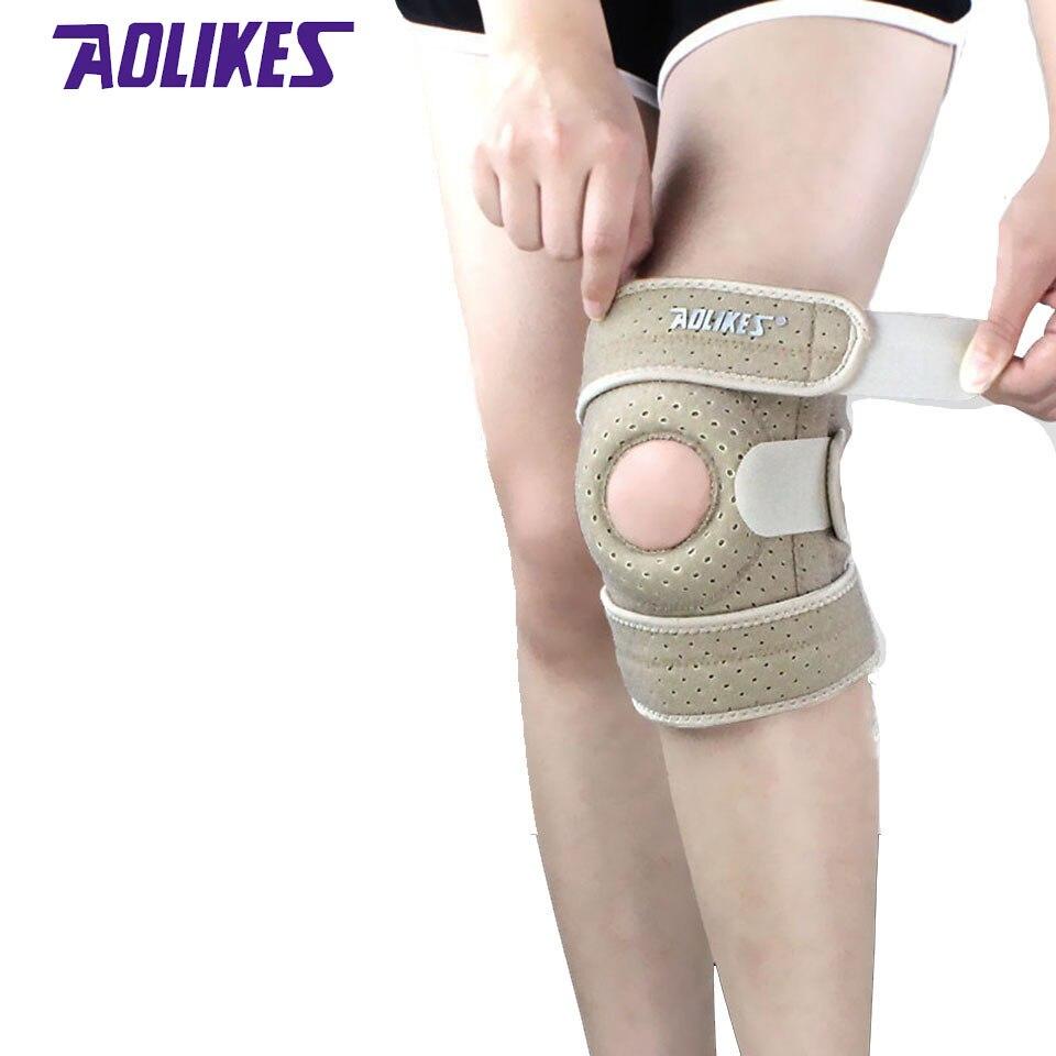 AOLIKES 1PCS Sports Adjustable Sports Training Elastic Knee Support Brace Kneepad Breathable Patella Knee Pads Hole Guard Strap
