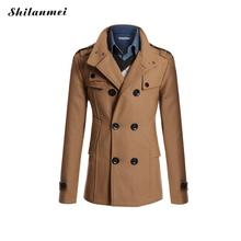 Trench Coat Men British Slim Double Breasted Acrylic Mens Long Trench Coat Turn-down Collar Trenchcoat Long Sleeve Jacket Male