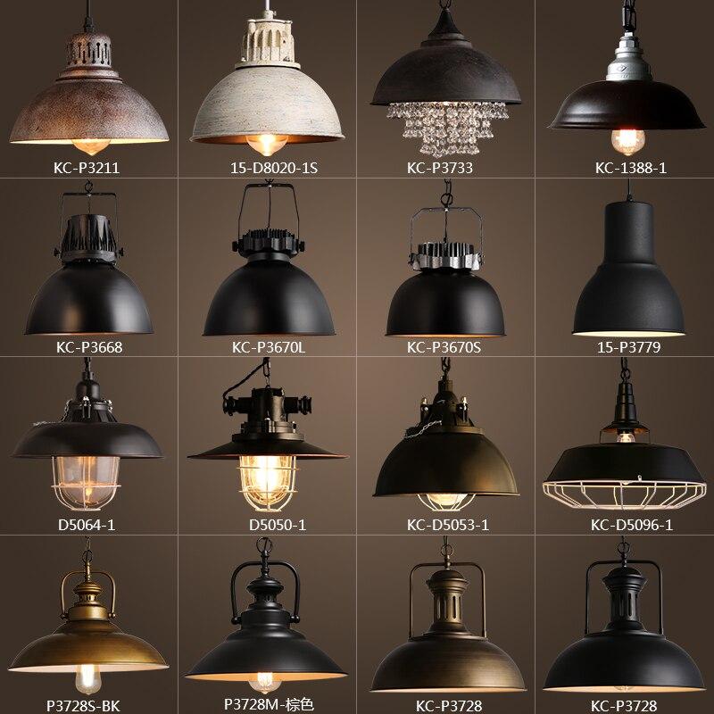 Rustique Vintage En Métal abat-jour Edison suspension lumières Rétro Lustre abat-jour suspendu lampe Luminaire Industriel éclairage lamparas