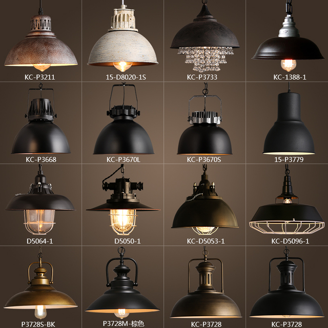 vintage rustic metal lampshade edison pendant lamp lights retro lustre shade hanging lampe fixture industrial lighting