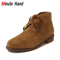 Minute Hand Women Faux Sude Chukka Boots Casual Cuban Low Heel Ankle Boots Fashion Lace Up Booties Ladies Spring Shoes Round Toe