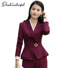 Dushicolorful Spring Autumn Office Lady Blazer Fashion 2019 New women blazer suit ladies jacket Full Sleeve Elegant Work Blazers