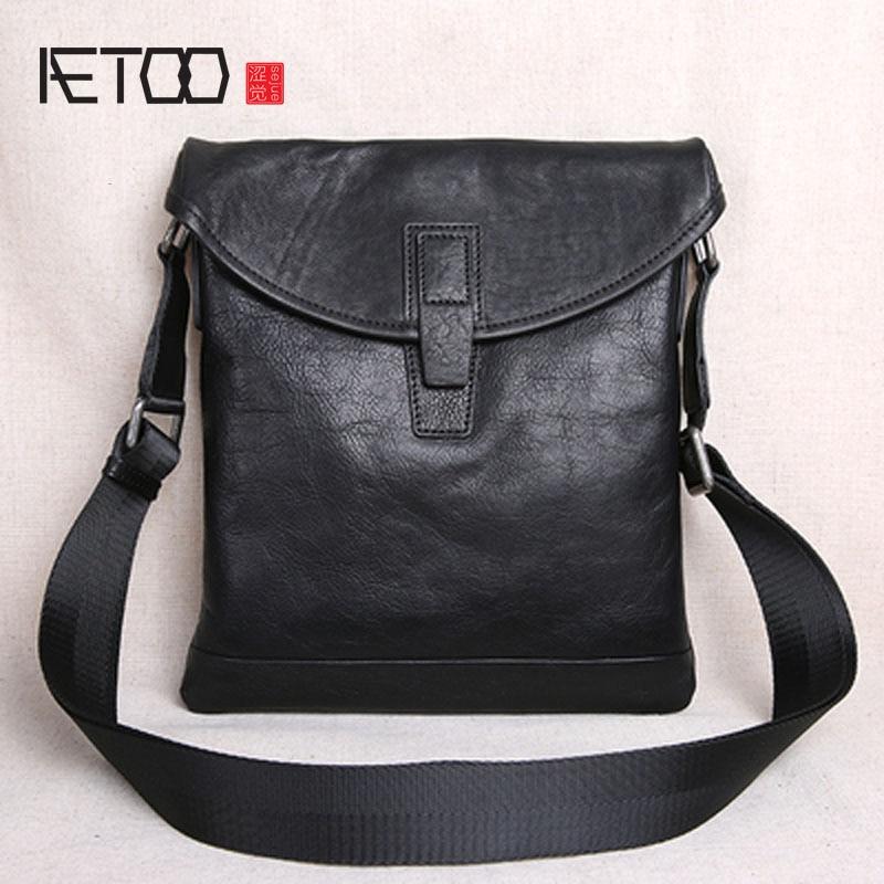 bb727d19bb64 AETOO первый слой кожи ультра-тонкая мужская Повседневная маленькая сумка  через плечо мужская кожаная сумка