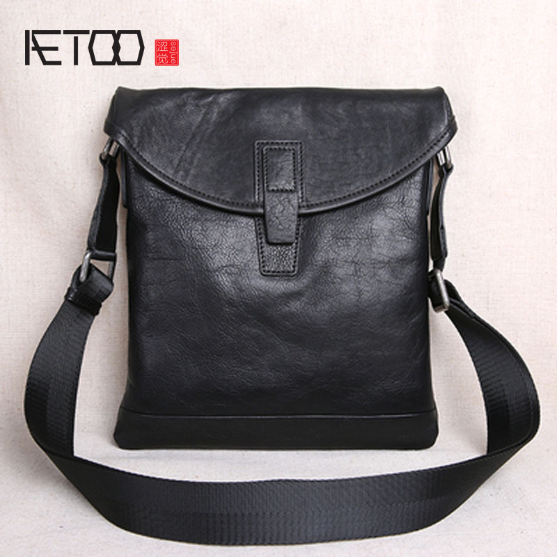 AETOO The first layer of leather ultra-thin men's casual small shoulder bag shoulder bag men's leather Messenger bag new men's lkprbd 2018 high end custom design of the new big 100% leather bag with a bean bag fashion leather shoulder messenger bag small