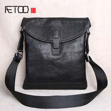AETOO The first layer of leather ultra-thin men's casual small shoulder bag shoulder bag men's leather Messenger bag new men's цена и фото