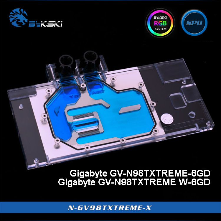 Bykski N GV98TXTREME X Full Cover Graphics Card Water Cooling Block for Gigabyte GTX980Ti XTREME 6GD