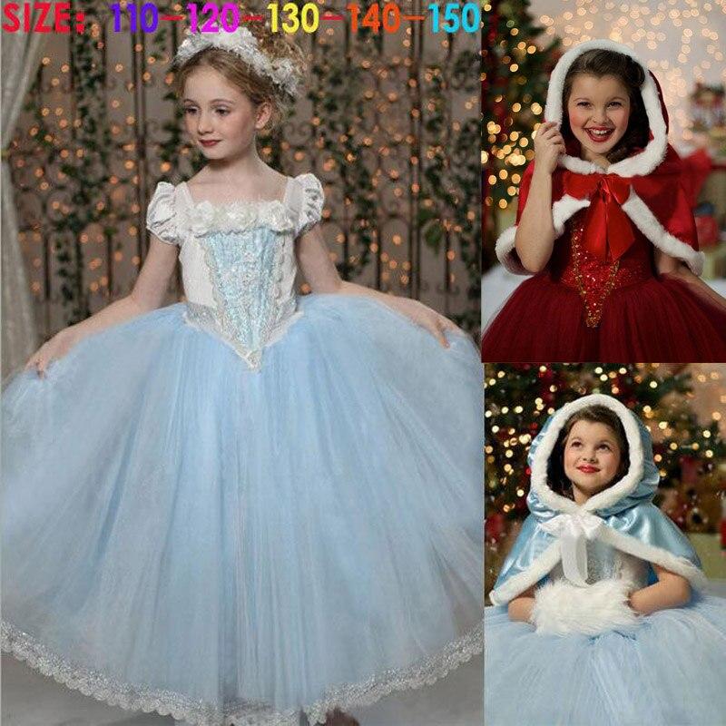 LAKAKSTY Children Girls Dress Anna Elsa Lace Reine Des Neige Baby Dresses + Hooded Robe Cape Kids Cosplay Costume Autumn Winter
