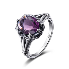 Szjinao Charming Stone Ring Purple Crystal Fashion Women Wedding Flower Jewelry Solid 925 Silver Engagement Rings Bague Femme