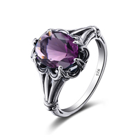 Szjinao Charming Stone Ring Amethyst Fashion Women Wedding Flower Jewelry Solid 925 Silver Engagement Rings Bague Femme