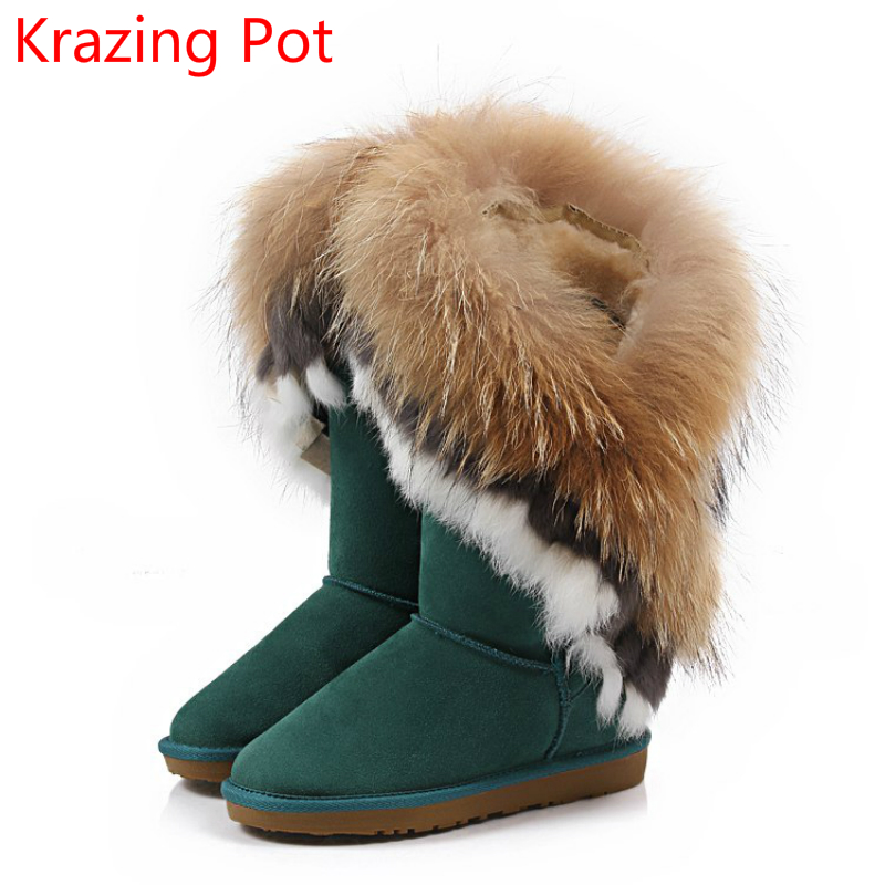2018 Large Sizecow Suede Fox Fur Rabbit Fur Luxury Winter Boots Flat with Keep Warm Snow Boots Sexy Mid-Calf Boots for Women L78