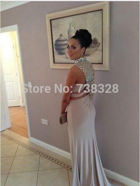 bb56c991976d4 2015 New Design Crystal High Neck Evening Kim Kardashian Dress Gowns ...