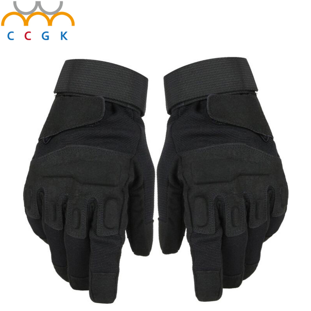 2017 New Outdoor Men's Army Gloves Man Full finger gloves Military police Safety Gloves Anti-Slippery Leather Tactical Gloves