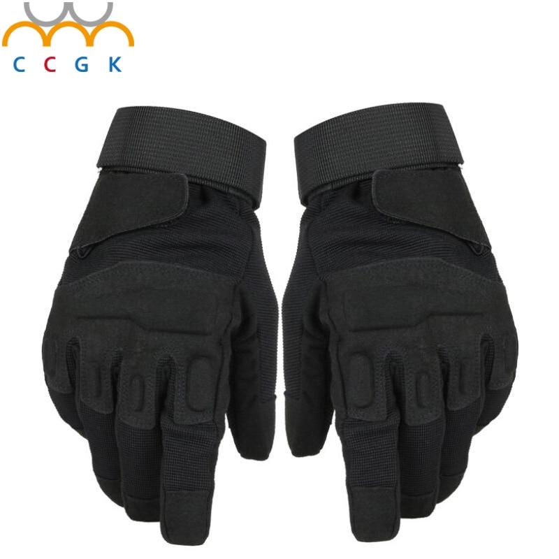 imágenes para 2017 Nuevos hombres Al Aire Libre Guantes de Hombre guantes Llenos del dedo Guantes de Seguridad de la policía Militar Del Ejército Táctico Antideslizante de Cuero guantes