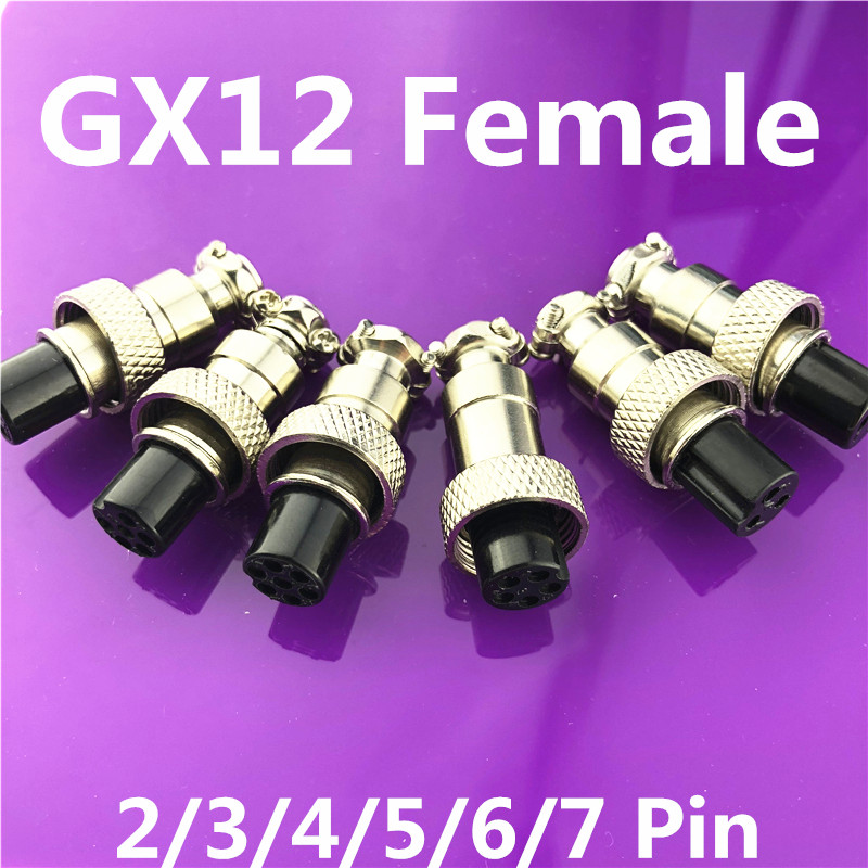1pc GX12 2/3/4/5/6/7 Pin Female 12mm L122-127 Circular Aviation Socket Plug Wire Panel Connector Free shipping diy 12mm 3 pin gx12 aviation plug connector silver 4 pcs