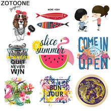 ZOTOONE Cartoon Letter Flamingo Tiger Fish Ironing Transfer Vinyl Heat Sticker T-Shirt Hot Patch Clothing Iron