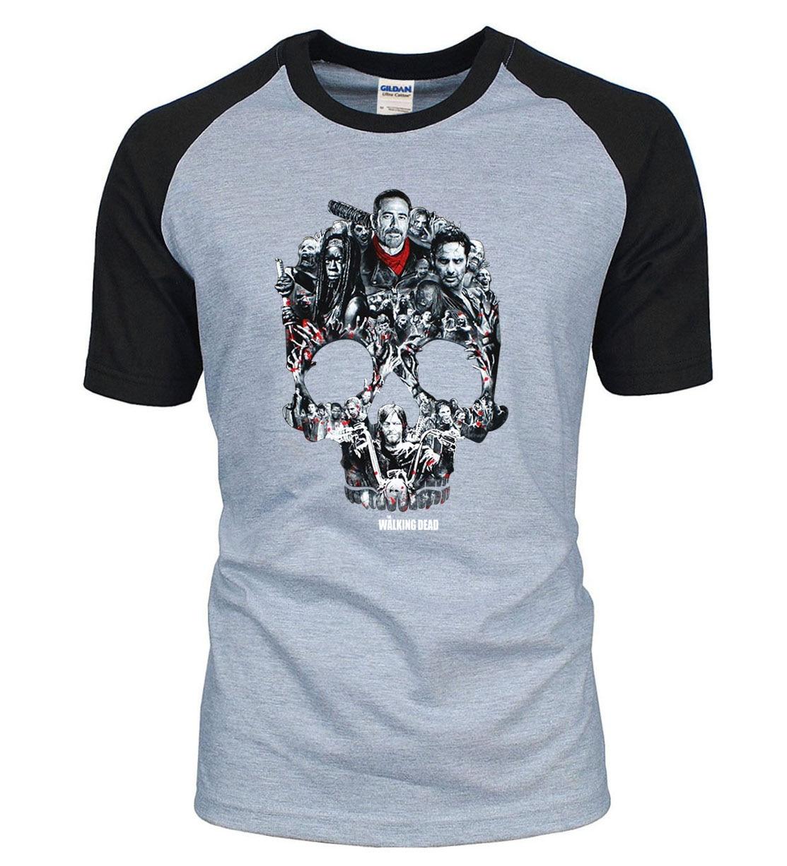 The Walking Dead Skull T-Shirts Men 2019 Summer Cool Men Raglan T Shirts  100%Cotton Punk Style Men's Tops Tees Hip Hop Tshirt