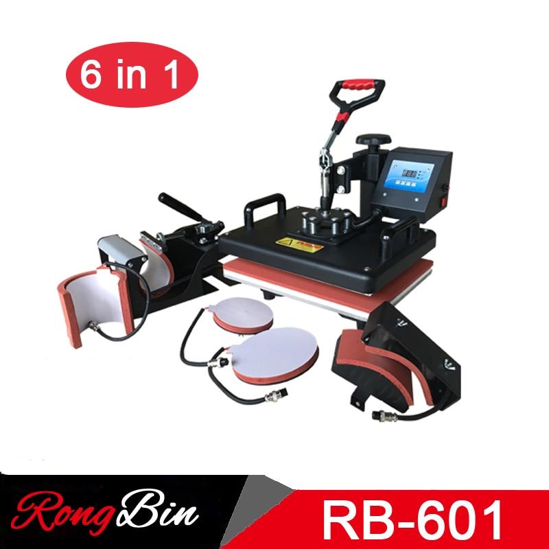 6 in 1 Combo Heat Press Machine T shirts Digital Swing Heat Transfer Machine Sublimation Machine for Mug Hat Plate Phone Case цена