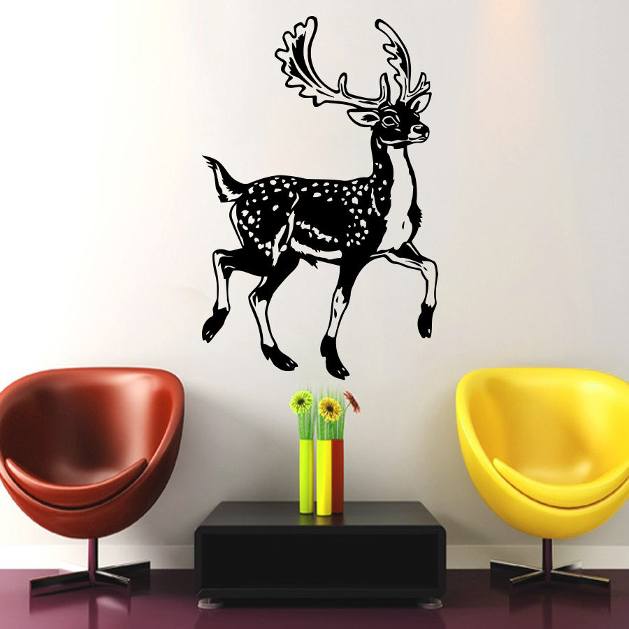 Deer Vinyl Wall Decal Animals Jungle Safari African Animal Deer Mural Art Wall Sticker Removeable Bedroom Home Decoration