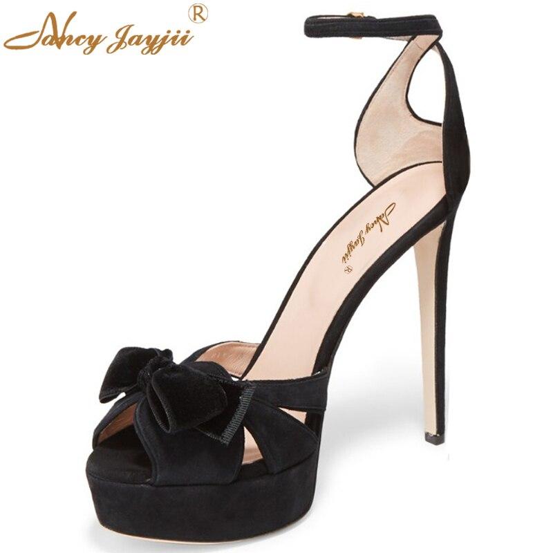 Nancyjayjii New Woman Shoes 2017 Black Peep Toe Platform 4cm High Heels 15cm Gladiator Sandals Women Big Size Summer Shoes 4-16.