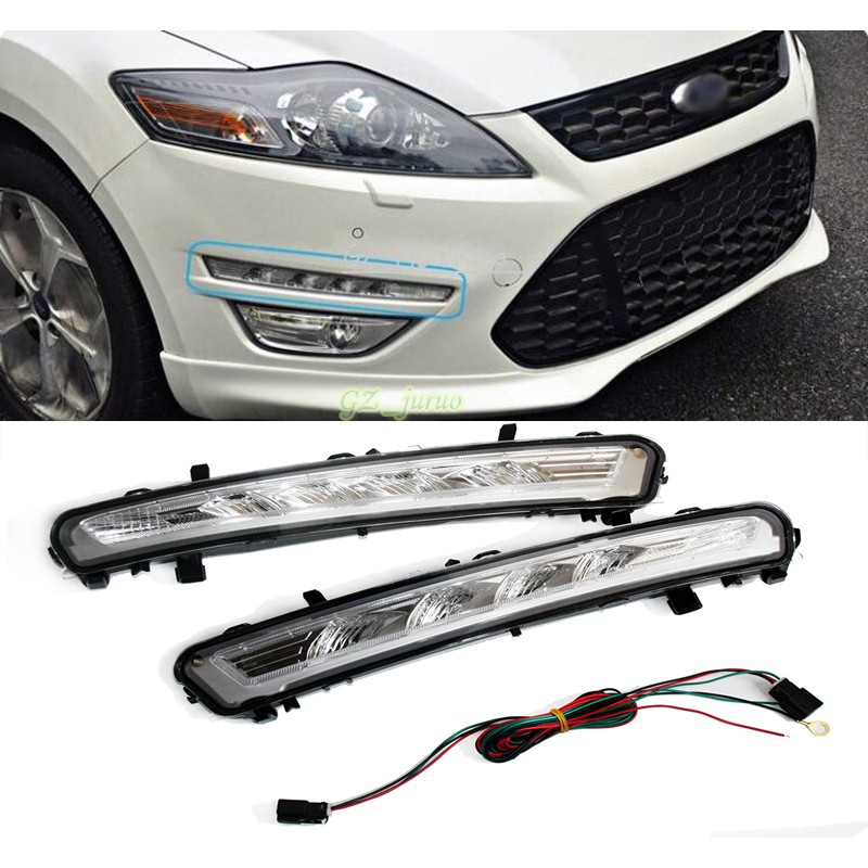 Automotive accessories For 2011 2012 2013 Ford MONDEO 2x LED DRL Driving Daytime Running Day Fog Lamp Light 2x 9006 hb4 led projector fog light drl 12w no error for volkswagen golf 6 mk6 2011 2012 scirocco 08 on t5 transporter 2003 2016