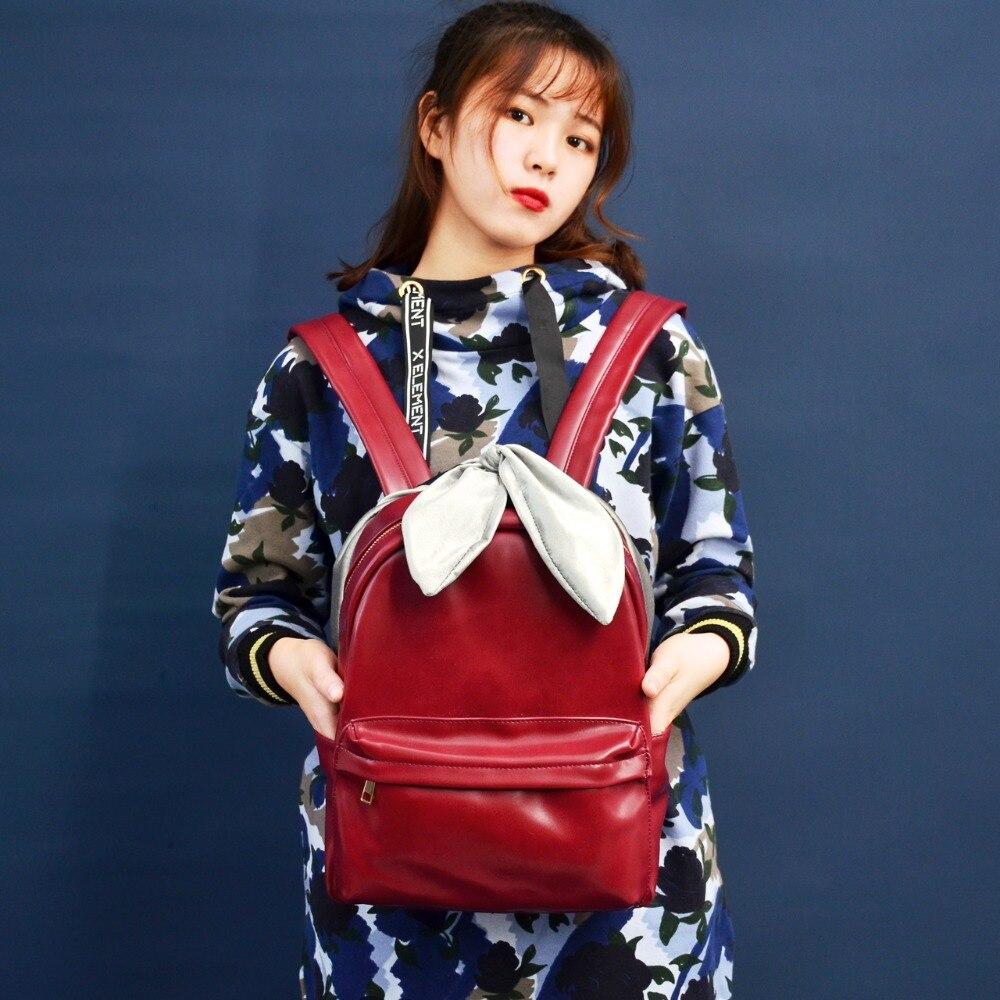 Angelatracy nouveauté rayure japon Style arc INS chaud velours arc rouge sac étanche PU fille livre sac à dos sacs à bandoulière