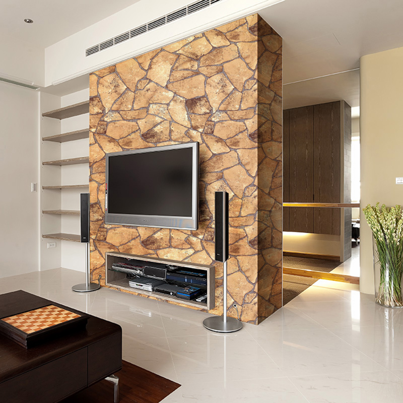 Modern Chinese Style 3D Mosaic Imitation Brick Stone Pattern PVC Waterproof Vinyl Wallpaper Living Room Home Decor Wall Paper