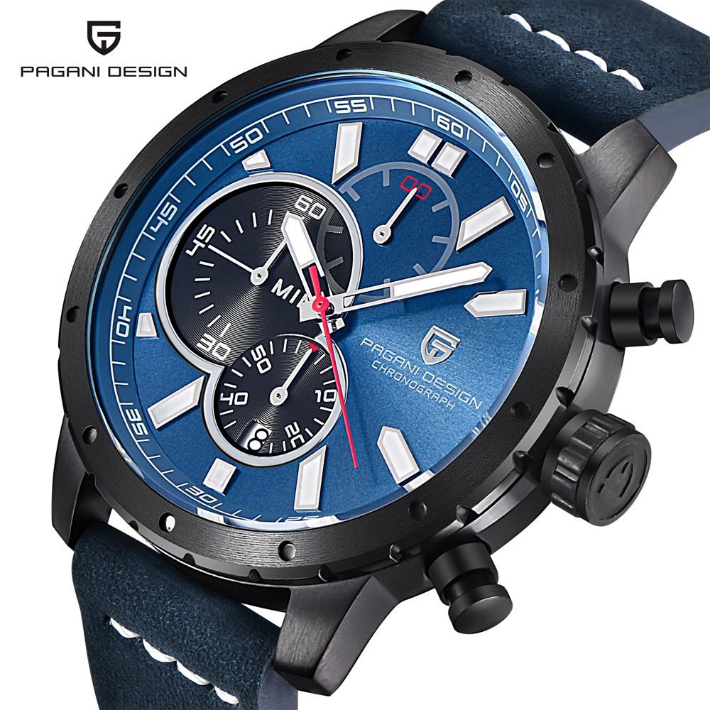 PAGANI DESIGN Men Chronograph Watch Top Brand Luxury Waterproof Sport Quartz Wrist Watch Men Leather Military Watch Male Clock pagani design men watch top brand luxury stainless steel leather sport military watch male quartz wrist watch men clock 2018 new