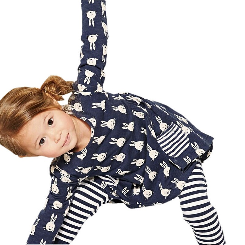 1-6 Tahun Girls Long Sleeve Dress Spring Autumn Blue Arnab Cotton Elastic Casual Dresses Kids Clothing KF063