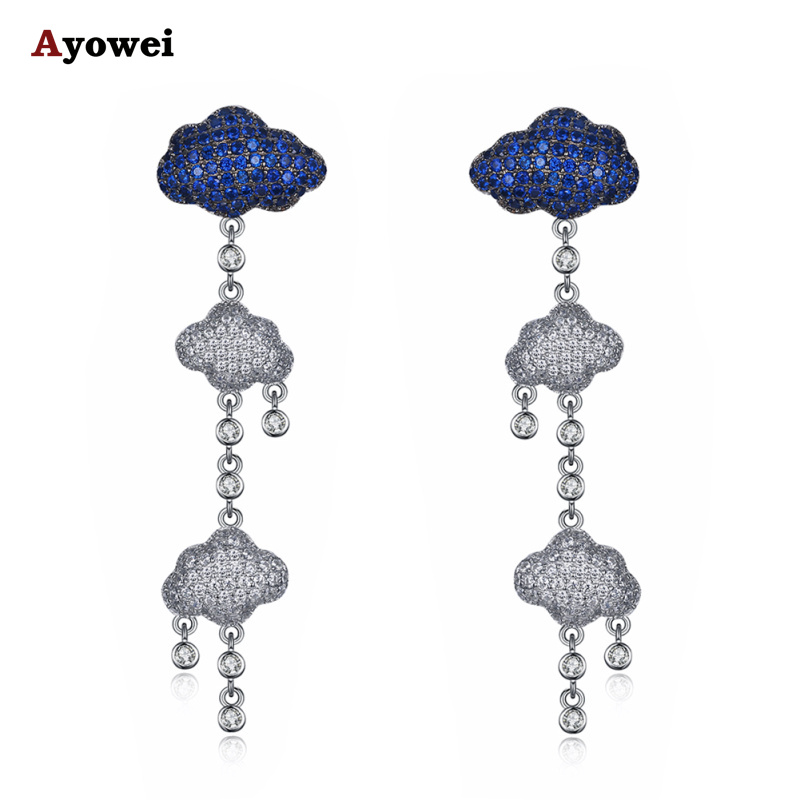 Ayowei Cloud Shaped 925 Sterling Silver Blue Jewelry Earrings Anniversary Gift SE29A