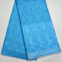 Latest 100% Swiss Voile Lace high quality Turquoise blue wedding lace for Wedding