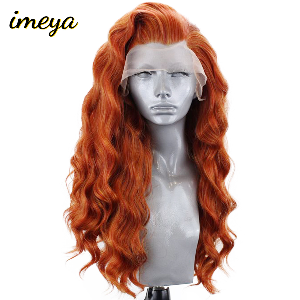 Imeya 22 Inch 150% Density Orange Color Loose Deep Wig Heat Resistant Hair Synthetic Lace Front Wigs For Women With Natural Part