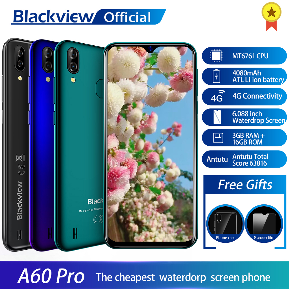 Blackview A60 Pro Smartphone MTK6761 Quad Core Android 9.0 4080mAh Cellphone 3GB+16GB Waterdrop Screen Face ID 4G Mobile Phone